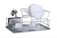 Stainless Steel Dish Drainer with Drip Tray and Cutlery Holder (2 Tier Green) by FurnitureXtra