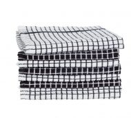 Black and White Pack of 8 Terry Tea Towels