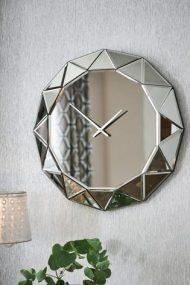 Facet Mirror Wall Clock