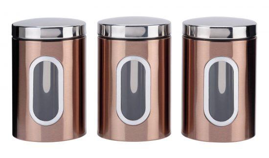 Addis Set of 3 Storage Jars - Black and Copper