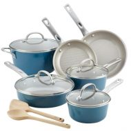 Ayesha Home Collection Porcelain Enamel Nonstick Cookware Set, 12-Piece